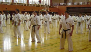 Students practicing tanto, a basic standing form of Ikken.